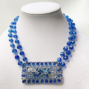 Jewelry - Blue & Silver Beaded Gallery Statement Necklace